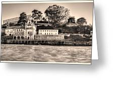 Panorama Alcatraz Shaky Sepia Greeting Card
