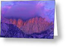 Panorama Alpenglow On Mount Whitney Eastern Sierras California Greeting Card
