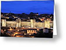 Panorama Avila Spain Wall At Night Greeting Card