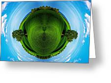 Panorama Earth Of A Green Meadow And Blue Sky Greeting Card