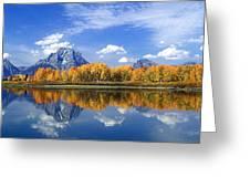 Panorama Fall Morning At Oxbow Bend Grand Tetons National Park Greeting Card