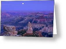 Panorama Moonrise Over Point Imperial Grand Canyon National Park Greeting Card