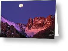 Panorama Moonset Middle Palisades Glacier Eastern Sierras California Greeting Card