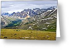 Panorama Of Rocky Mountains In Jasper National Park Greeting Card