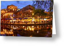 Panorama Of San Antonio Riverwalk At Dusk - Texas Greeting Card
