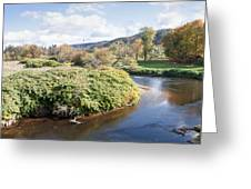 Panorama Of The Little River At Stowe Vermont Greeting Card