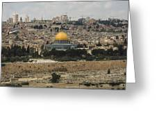 Panorama Of The Temple Mount Including Al-aqsa Mosque And Dome Greeting Card
