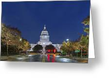 Panorama Of The Texas State Capitol At Christmas Greeting Card