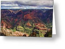Panorama Of Waimea Canyon Hawaii Greeting Card by David Smith