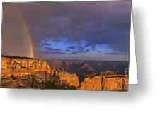 Panorama Rainbow Over Cape Royal North Rim Grand Canyon National Park Greeting Card