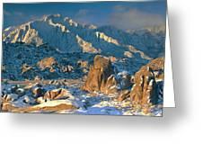 Panorama Snow Covers The Alabama Hills Greeting Card