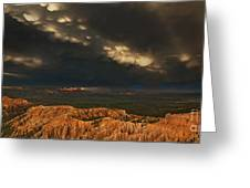 Panorama Storm Clouds Over Bryce Canyon National Park Utah Greeting Card