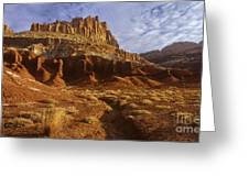 Panorama The Castle On A Cloudy Morning Capitol Reef National Park Greeting Card