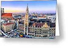 Panorama View Of Munich City Center Greeting Card