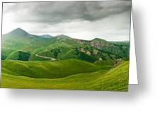 Panoramic Green Mountains Greeting Card by Boon Mee