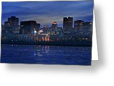Panoramic Of Skyline At Dusk, Montreal Greeting Card