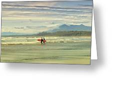 Panoramic Of Surfers On Long Beach, Bc Greeting Card