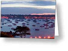 Panoramic Of The Marblehead Illumination Greeting Card by Jeff Folger