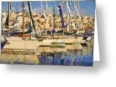 Panoramic Painting Of Mikrolimano Greeting Card