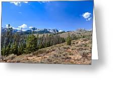 Panoramic Sawtooth Range And Little Redfish Lake Greeting Card by Robert Bales