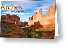 Panoramic View Of Arches National Park  Greeting Card