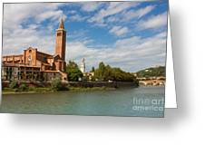 Panoramic View Of Dominican Church Of Sant'anastasia In Verona Greeting Card