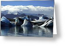 Panoramic View Of Icebergs And Glaciers Greeting Card