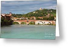 Panoramic View Of Ponte Pietra In Verona Greeting Card