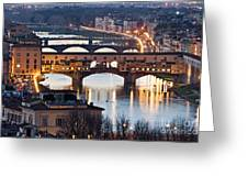 Panoramic View Of Ponte Vecchio - Florence - Tuscany Greeting Card