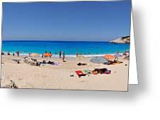 Panoramic View Of Porto Katsiki Beach Greeting Card