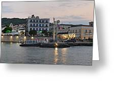 Panoramic View Of Spetses Town Greeting Card