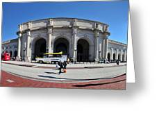 panoramic View of Union station in Washington DC Greeting Card