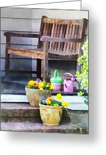 Pansies And Watering Cans On Steps Greeting Card