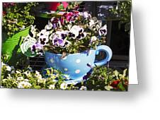 Cup Of Pansies Greeting Card