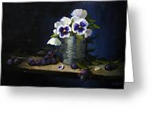 Pansies In A Tin Can Greeting Card
