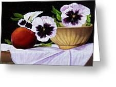 Pansies In Bowl Greeting Card