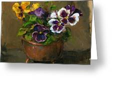 Pansies In Copper Pot Greeting Card