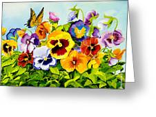Pansies With Butterfly Greeting Card