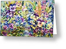 Pansy Path Greeting Card by Ann  Nicholson