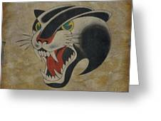 Traditional Tattoo Panther  Greeting Card