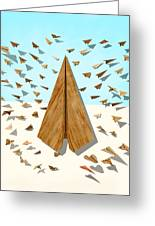 Paper Airplanes Of Wood 10 Greeting Card