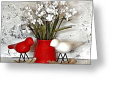 Paper Bouquet And Rocking Birds Greeting Card