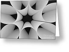 Paper Flower Black And White Greeting Card