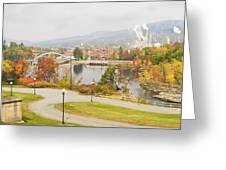 Paper Mill And Fall Colors In Rumford Maine Greeting Card
