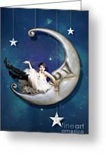 Paper Moon Greeting Card by Linda Lees