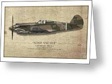 Pappy Boyington P-40 Warhawk - Map Background Greeting Card