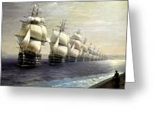 Parade Of The Black Sea Fleet In 1849 Greeting Card