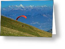 Paragliding In The Mountains Greeting Card