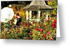 Parasol In Rose Garden Greeting Card