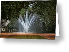 Parc De Bruxelles Fountain Greeting Card